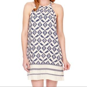 Lucky Brand Blue and White Aztec Shift Dress Sz L